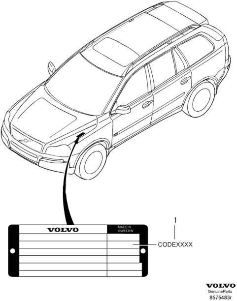 Таблица для перевода значений цвета отделки интерьера VOLVO XC90