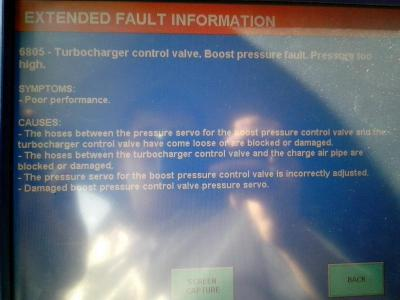 Ошибка 6805 Turbocharger control valve  Boost presure fault